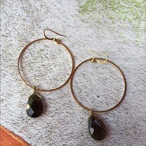 Jewelry - Smoky quartz tear drop hoop dangle earrings